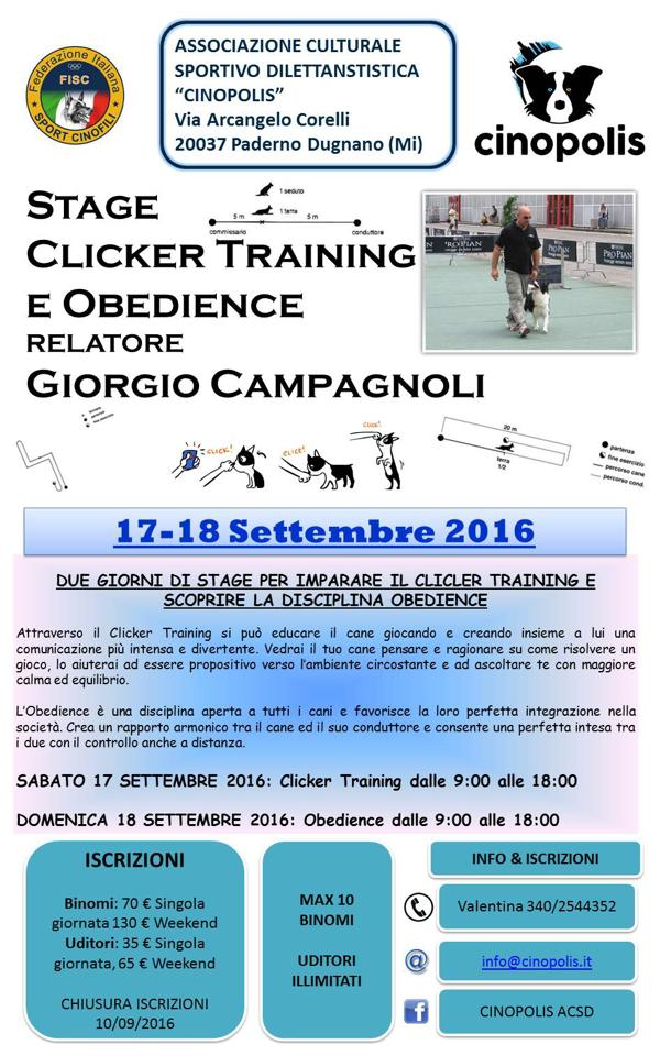 locandina stage clicker e obedience